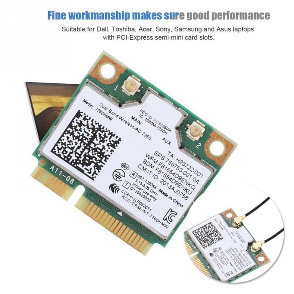 Dual Band Wireless network card module AC 7260 for Intel 7260HMW 7260AC 2.4G/5Ghz WiFi Card Wi-Fi + Bluetooth 4.0 Adapter image