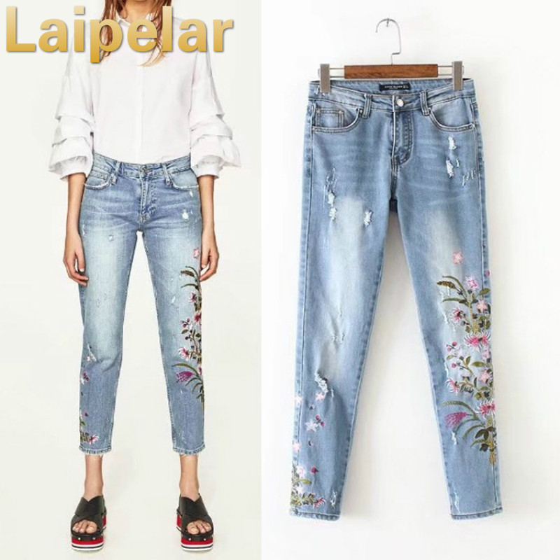 Floral embroidery women   jeans   vintage embroidered denim   jeans   pants Laipelar Women Trend calf-length pants Autumn trousers
