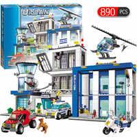 City Police Series Motorbike Car Helicopter Building Blocks legoingly City Police Station DIY Bricks toys for children boys