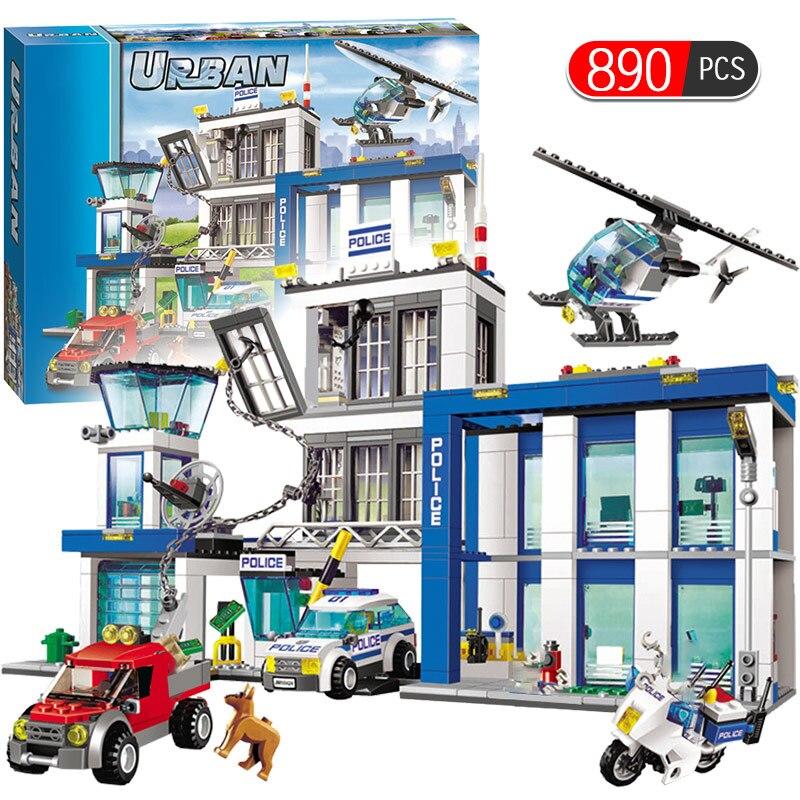 City Police Series Motorbike Car Helicopter Building Blocks City Police Station DIY Bricks Toys For Children Boys