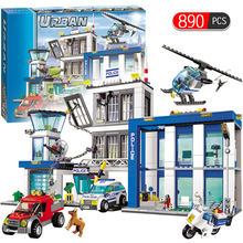 City Police Series Motorbike Car Helicopter Building Blocks legoingly City Police Station DIY Bricks toys for children boys(China)