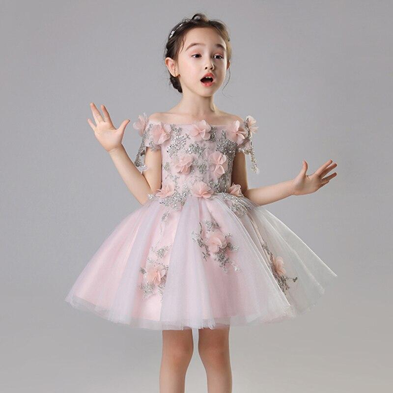 Robes de fille de fleur pour mariage sans épaule princesse robes de soirée Costume d'anniversaire Floral Bll robe sainte Communion robe