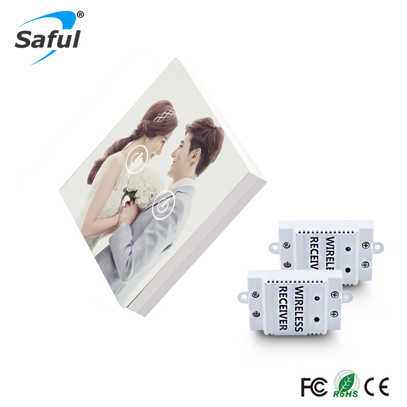 все цены на Saful Remote Control Touch Switch 2 Gang 2 Way Painting DIY Glass Design Wireless Touch Switch For Smart Home онлайн