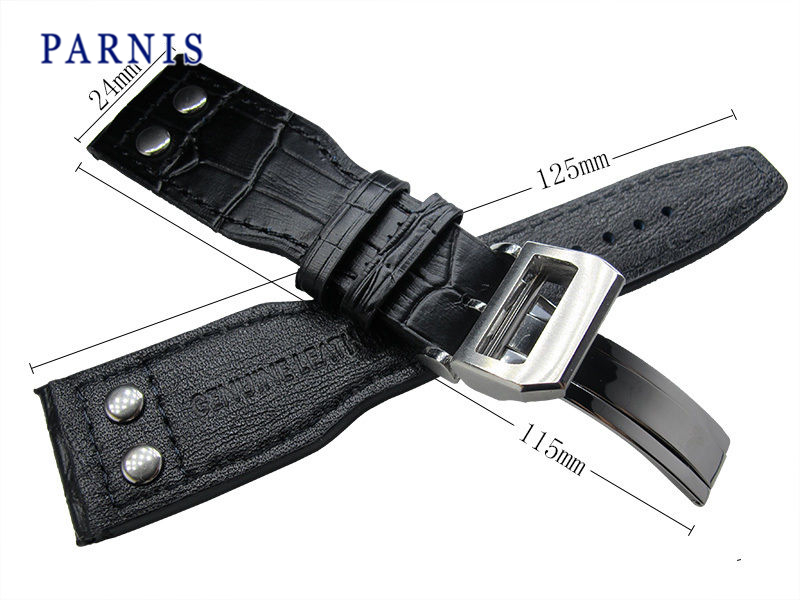 24mm Black Genuine Leather Watchband Parnis New Watch Strap Deployment Buckle, Watch Accessories Leather Watchbands for Watch все цены