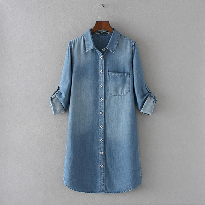 lange denim blouse
