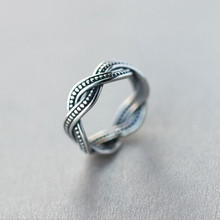 New Retro Exquisite Simple Personality 925 Silver Jewelry Twist Thai Silver Tail Female Opening Ring   SR251