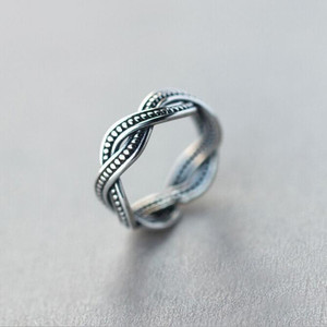 New Retro Exquisite Simple Personality 925 Sterling Silver Jewelry Twist Thai Silver Not Allergic Tail Opening Rings SR251