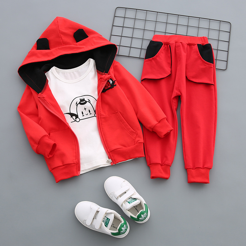 2018 New Autumn Children Boy Girl Fashion Suit Kids Hoodies T-shirt Pants 3Pcs Set Baby Pure Cotton Clothes Toddler Tracksuit