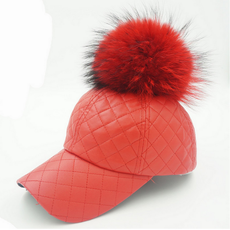 c902ddc42 US $10.43 10% OFF|Which in shower Real Raccoon Fur Pom Pom Pu Plaid  Baseball Cap Hip Hop Faux Leather Fur Pompom Snapback Hat Pompon Ball  Cap-in ...