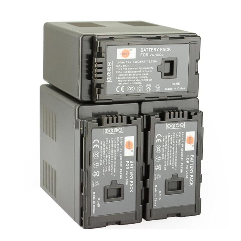DSTE 3pcs VW-VBG6 Camera Battery for Panasonic AG-HMC155 AG-HMC83MC AG-HMC40 AG-HMC151E HDC-MDH1GK-K стоимость