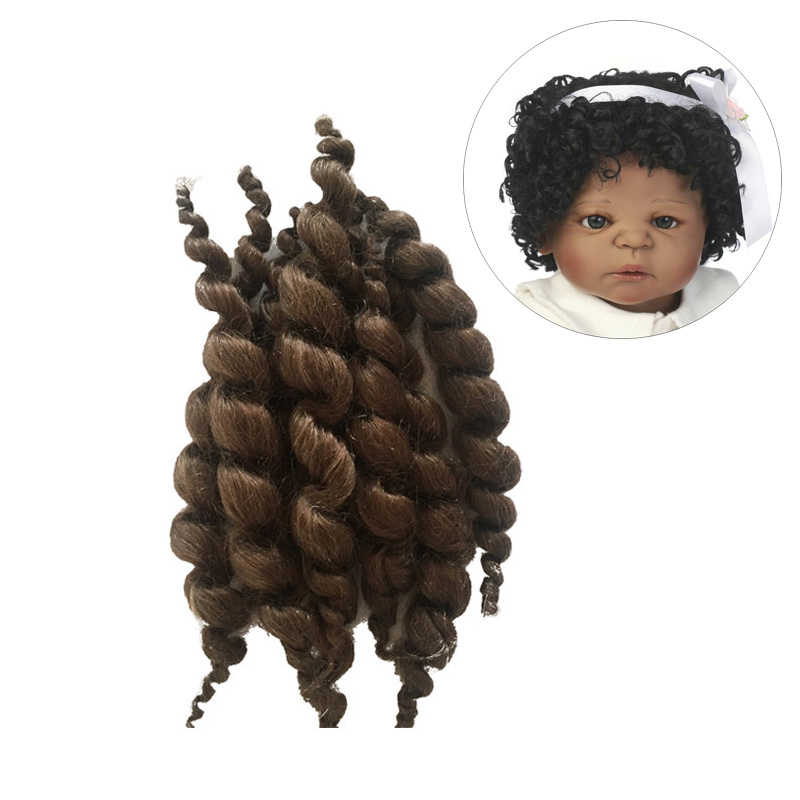 A Bunch Premium Curly Dark Brown Curls Mohair Fit For NPK Collection Reborn Baby Doll Accessories Dolls Real Soft Mohair On Sale