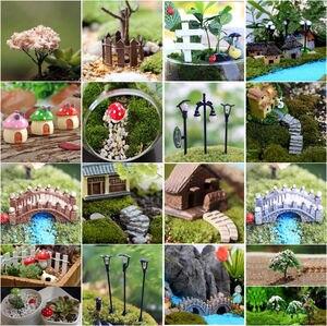 Cute Village House Miniature Garden Mini Bridge Stairs Craft Figurine Plant Pot Garden Ornament Miniature Fairy Garden Decor