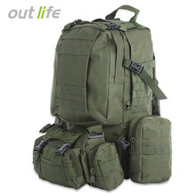 Outlife 50L Military Men Backpack Molle Tactical Camouflage Backpack Outdoor Sport Climbing Hiking Camping Sport Bag 8 Colors(China)