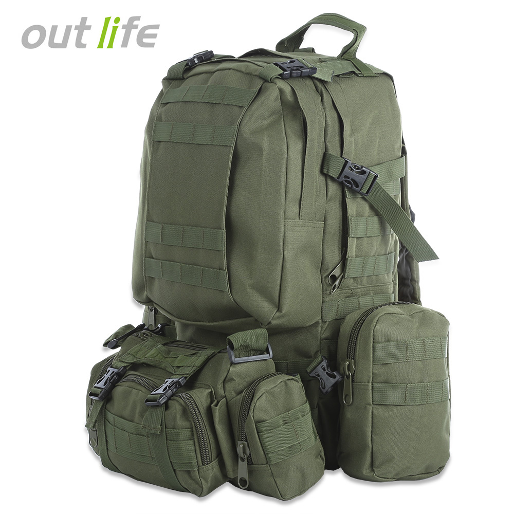 Mochila para hombre militar Outlife 50L camuflaje táctico Molle Mochila deportiva al aire libre escalada senderismo Camping deporte bolsa 8 colores