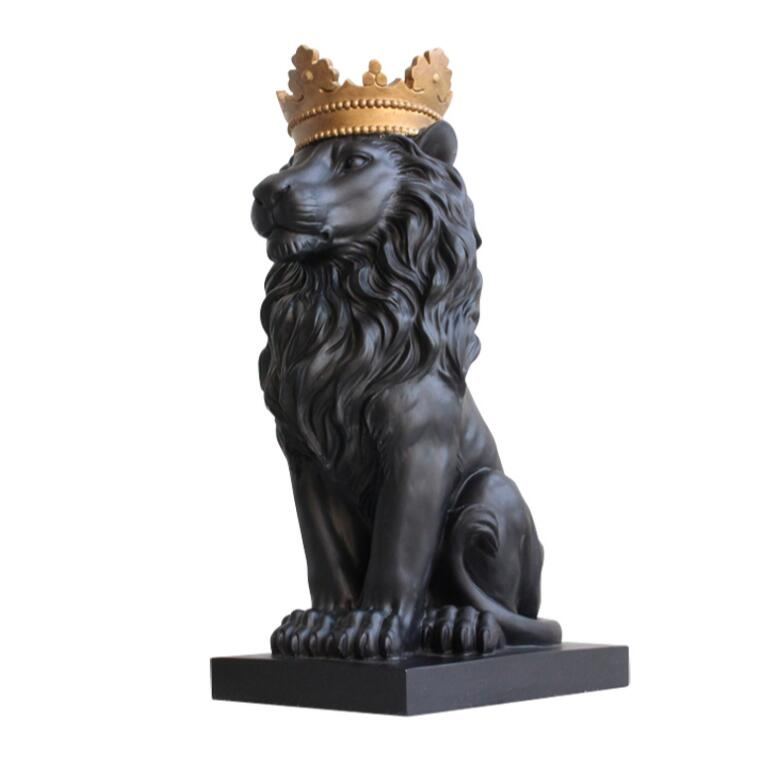 Black crown lion statue handicraft decorations christmas decorations for home sculpture escultura home decoration accessories