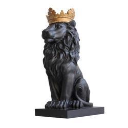 Coroa negra leão estátua artesanato decorações de natal para casa escultura escultura acessórios de decoração para casa
