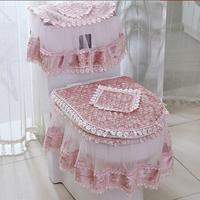 Adeeing 3 PCS Flannel Cashmere Lace Printed Home Decoration Water Tank Cover+Toilet Cover Seat+Toilet Seat