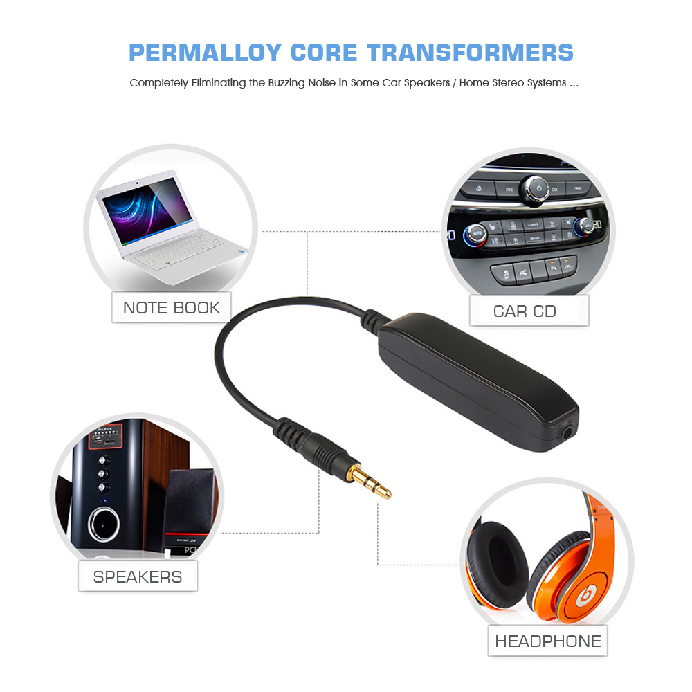 3.5mm Aux Audio Noise Filter Ground Loop Isolator Eliminate Car Electrical Noise 3