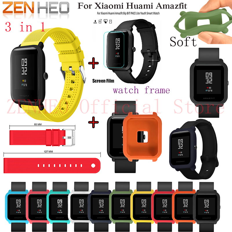 Watch Band Soft Silicone protective frame case cover Wrist strap For Xiaomi Huami Amazfit Bip Pace Youth with protective films sikai 22mm soft silicone watch band with protective case for huami amazfit pace bracelet case smartwatch band wristband straps