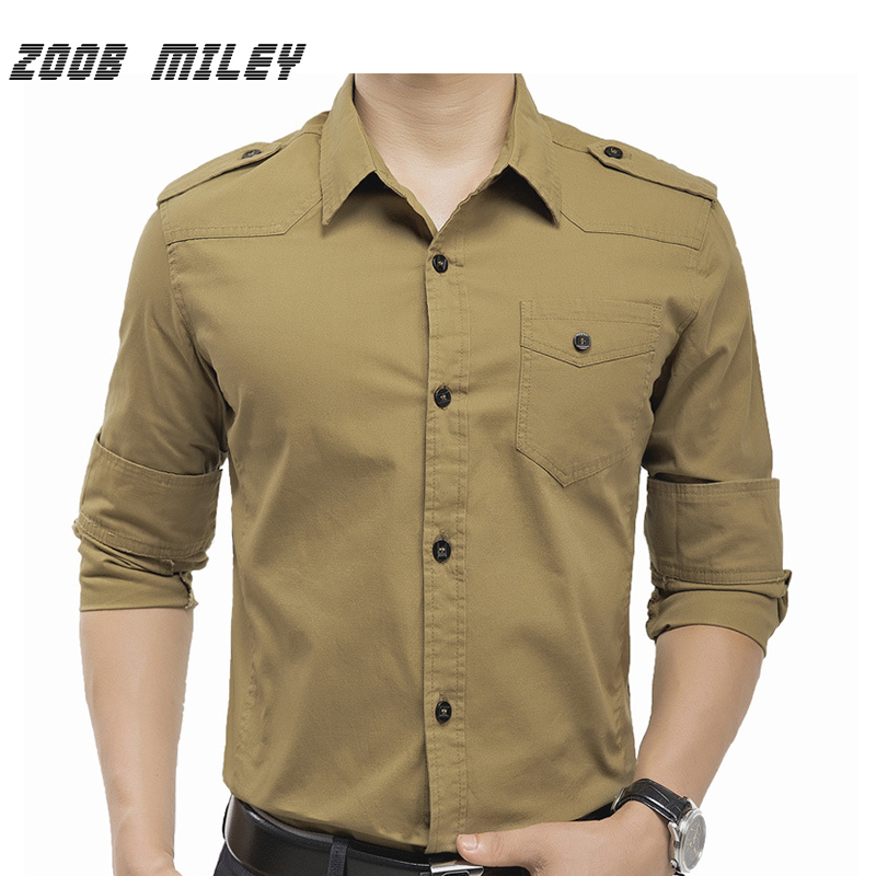 ZOOB MILEY Military Style Men's Cargo Shirts Long Sleeve Big Size M-3XL 100% Cotton Causal Man wear Solid Color Khaki Armygreen