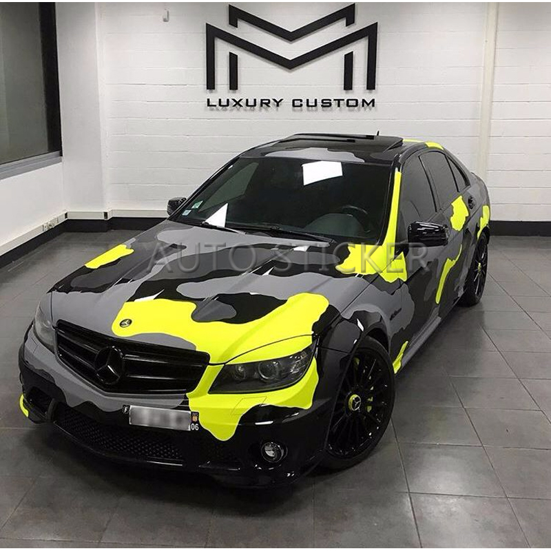 5/10/15/20/25/30m*1.52m Yellow Black Gray Big Camo Adhesive PVC Vinyl Film Car Wrap Racing Car Camo Sticker Vehicle DIY Decal