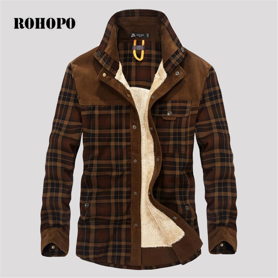 ROHOPO Warm Military Winter Fleece liner Plaid shirt Men Chaqueta,100% Cotton Thicken Long Sleeve Shirts Winter pockets shirts