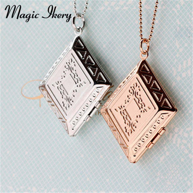 Magic ikery rose gold color photo memory floating book locket magic ikery rose gold color photo memory floating book locket pendant photo box fashion necklaces for aloadofball Images