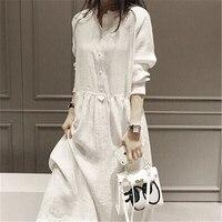 2018 сезон: весна–лето фея Белье большой Размеры Длинные рукава Для женщин Высокий Низкий Подол платья Макси партия белый Платья для женщин