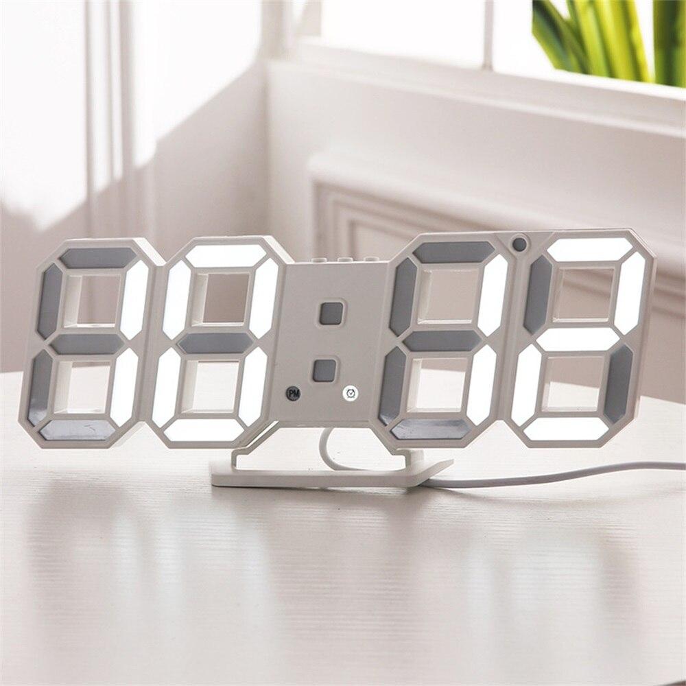 3d Led Digital Uhr Snooze Schlafzimmer Schreibtisch Alarm Uhren Hängen Wanduhr 12/24 Stunde Kalender Thermometer Home Decor Geschenk Spezieller Kauf