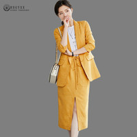 Fashion Summer Women Skirt Suits Notched Cotton Linen Blazer Feminino Loose Two Pieces OL Sets Office Clothes Work Outfit B136