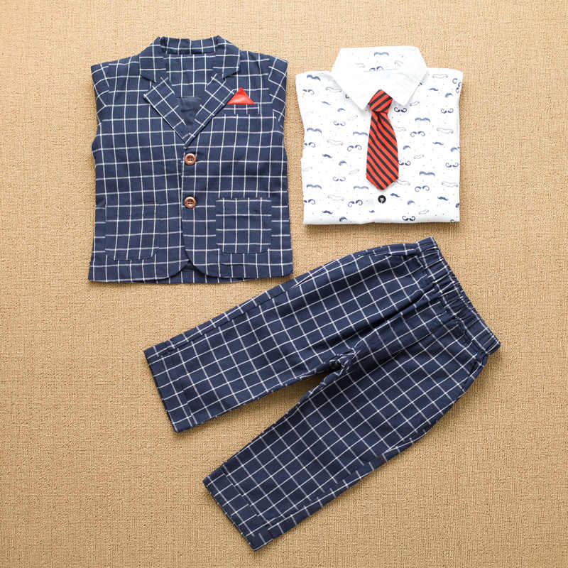f376e24aa5 ... kids dresses for boys baby boy clothes 4t set Children plaid Suit  Wedding Formal Wear winter ...