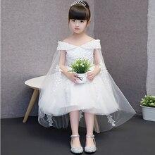2017 Nouvelle Arrivée de Neige Blanc Princesse Dentelle Robe Pour Les Filles Enfants Enfants Élégant De Mariage De Mode Formelle Parti pageant Robes