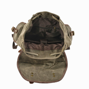 Image 5 - M272 Vintage Canvas Leather Backpacks for Men Laptop Daypacks Waterproof Canvas Rucksacks Large Waxed Mountaineering Travel Pack