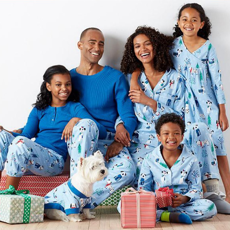 1fcc3e1a3b Family christmas pajamas Blue Xmas Printed 2pcs sets family pajamas father  son matching clothes Mother and daughter clothes-in Matching Family Outfits  from ...
