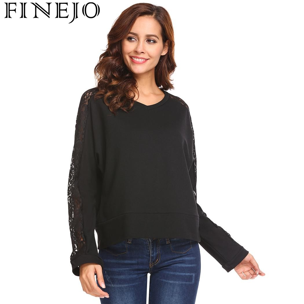 FINEJO Lace Hollow Out Patchwork Loose Sexy T Shirt Women New Casual V Neck Long  Sleeve Pullover tshirts Tops Camisa Feminina-in T-Shirts from Women s ... 6bde30a65b06