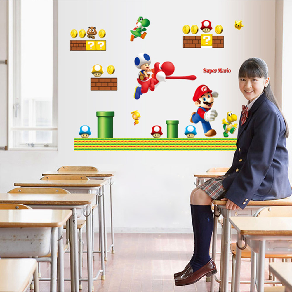 Newest super mario cartoon game home decal wall stickerfunny boys newest super mario cartoon game home decal wall stickerfunny boys girls love kids room decoration child gifts stickers in wall stickers from home garden amipublicfo Gallery