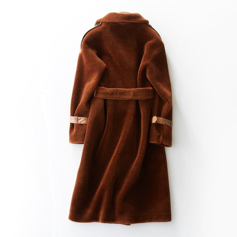 Moutons De Fourrure 2018 Femme Veste Ayunsue Femmes Manteau Caramel Vêtements Hiver Kj1043 Laine Vraie black Des Tonte Coréennes YnwwEqvz6x