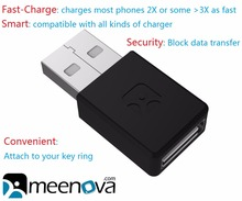Meenova Smart & Secure Fast-Charge USB Adapter for Smartphones & Tablets iPhone: 2X Fast Charging, Data Block & Charge Only
