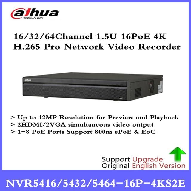 DH 4K NVR NVR5416-16P-4KS2E 16CH 16 poe NVR5432-16p-4KS2E 32ch 16 PoE NVR5464-16P-4KS2E 1-8 PoE Ports Support 800m ePoE & EoC цифровой видеорегистратор dahua 16 poe dh nvr4416 16p