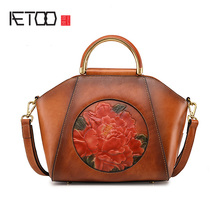 купить AETOO New leather handbag, head cowhide vintage shell lady shoulder bag, single shoulder oblique cross female bag по цене 3681.26 рублей