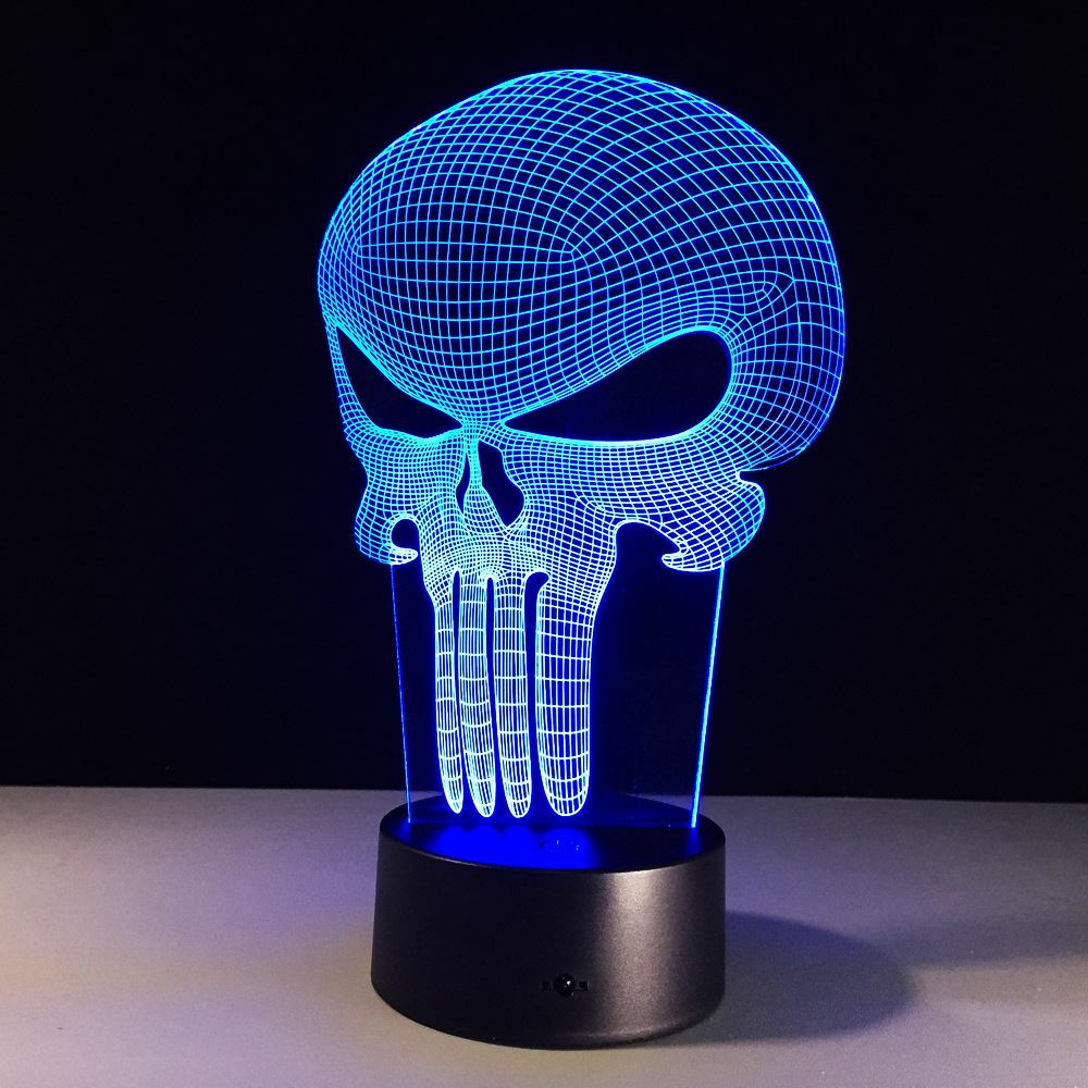 Punisher Skull novelty toy lamp 7 color changing visual illusion LED light Punisher Skull decro toy action figure birthday gift