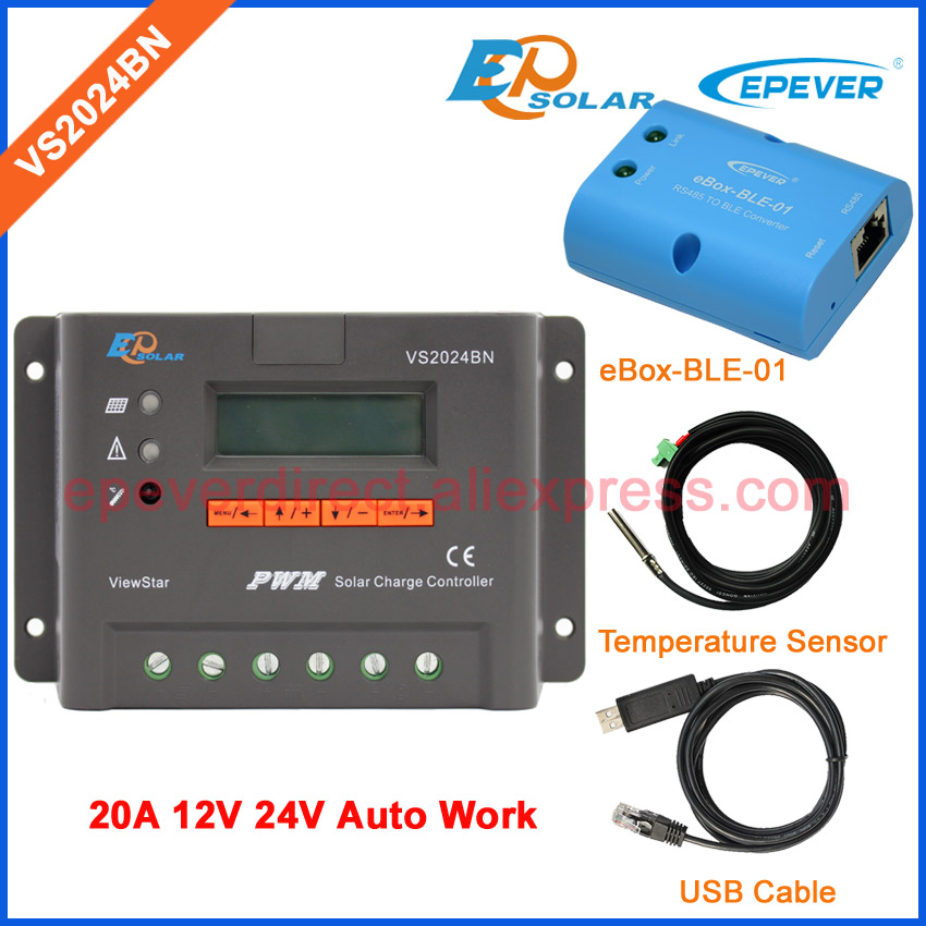 New PWM controller with lcd display VS2024BN 20A USB cable and temperature sensor BLE BOX 12V 24V EPEVER/EPsolar Solar system epever pwm epsolar 20a vs2024bn with bluetooth function box solar charger controller temperature sensor and mt50 meter