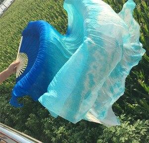 Image 5 - Groothandel Tie Dye Pure Zijde Fan Sluiers China Traditionele Bamboe Lange Fan Voor Bellydancer Oosterse Dans Praktijk Gratis Verzending