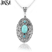 BLS124 Wholesale Ladys Vintage Tibetan Silver  Hollow Alloy Round Pendant Necklace Long Fashion Turquoise Jewelry