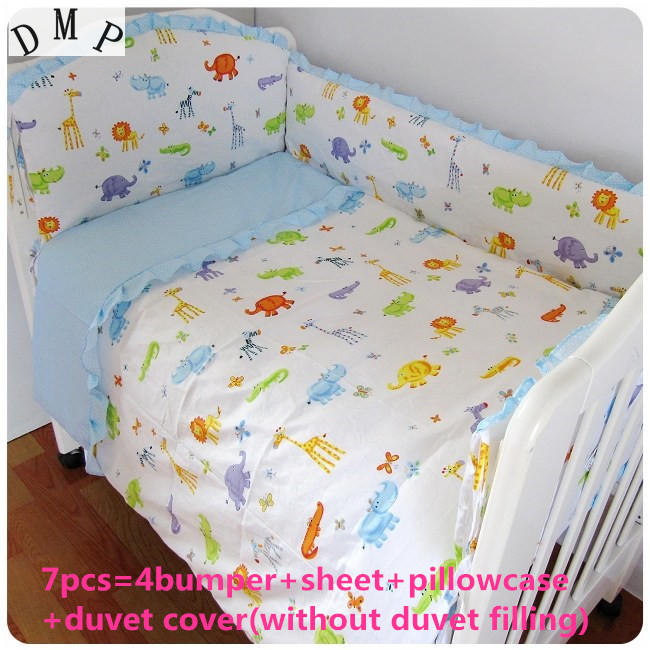 Discount! 6/7pcs 100% Cotton Baby Bedding Set, With Cartoon Design, Free Shipping ,120*60/120*70cm