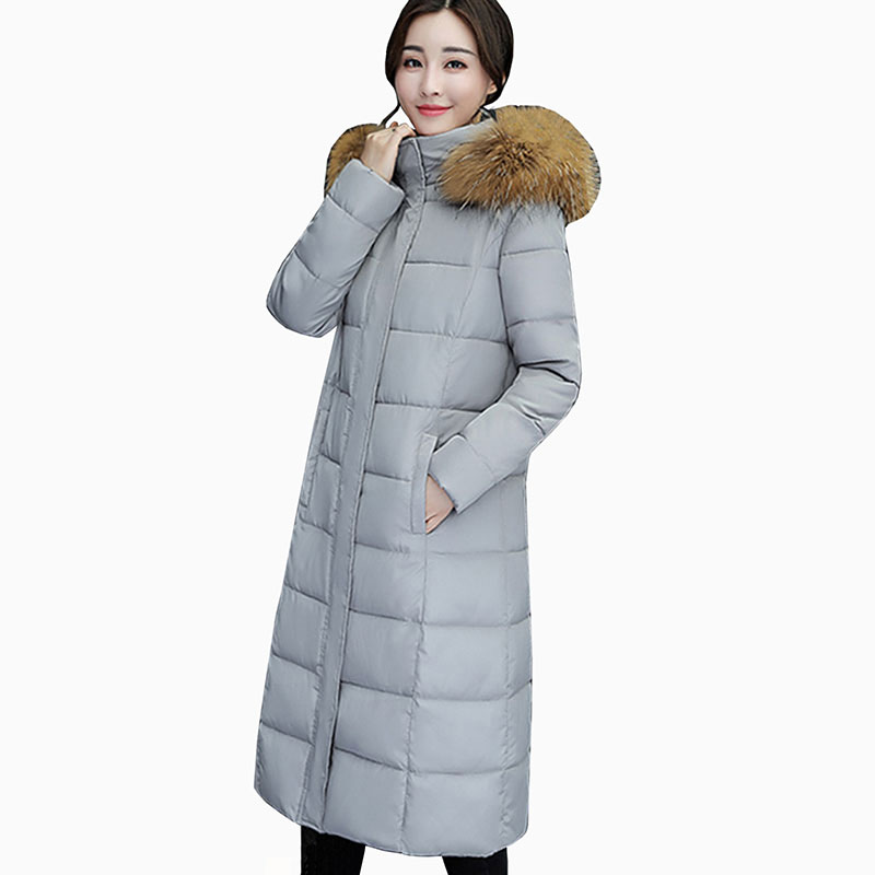 New Winter Coat Women 2017 Thick Warm Winter Jackets Female Fur Collar Hooded Long Parka Coat Plus Size slim Outerwear QH0452 slim winter jackets women belt long down coat 2016 new fashion women s winter coat fur collar coats female thick warm parka y269