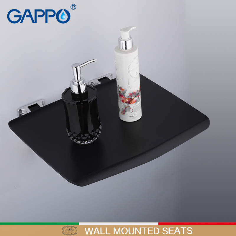 Home Improvement Wall Mounted Shower Seats Gappo Wall Mounted Shower Seats Black Bathroom Folding Chairs Bath Shower Chair Stool Toilet Saving Space Folding Seat Evident Effect