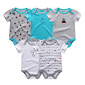 5pcs/lot Baby Bodysuits 100% Cotton Infant Body Short Sleeve Clothing Similar Jumpsuit Cartoon Printed Baby Boy Girl Bodysuits
