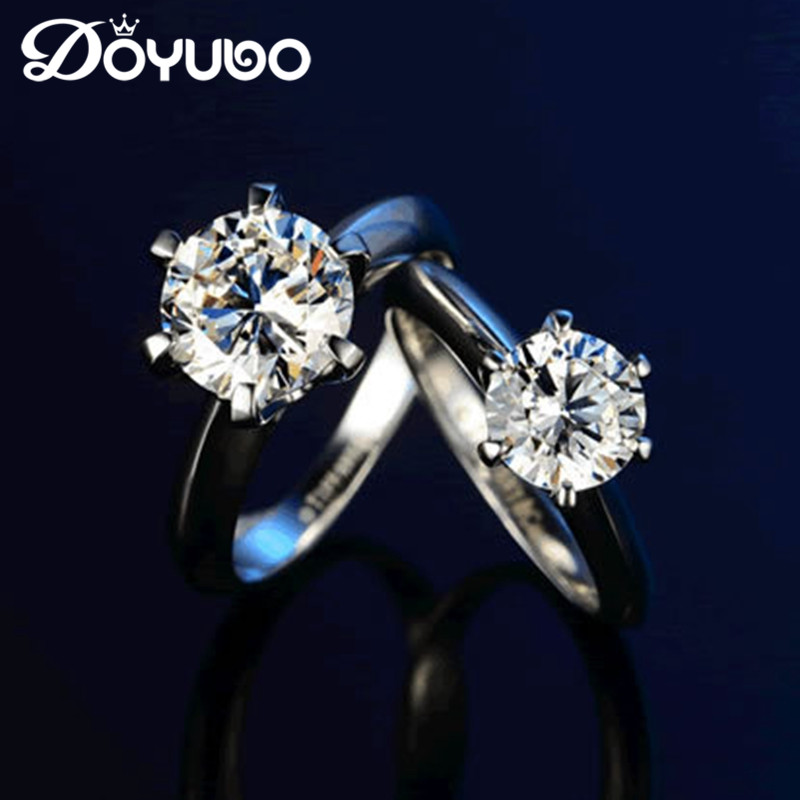DOYUBO Classical Women Solid Silver Six Claw Ring With 1 Carat 1 5 Carat Cubic Zircon