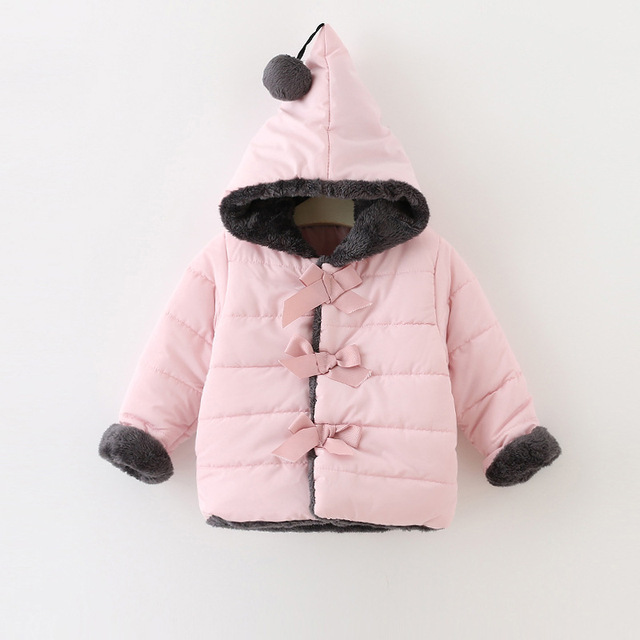 2017 Winter Baby Girls Coat Cotton Bow Hooded Kids Infant Parkas Princess Style Outerwear Coat casaco roupas